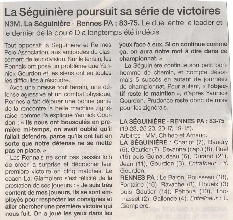 Ouest-France La Seg Basket / Rennes